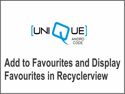 add to favourites and display favourites in recyclerview